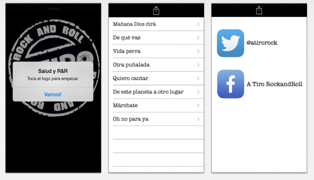 A Tiro. App creada por J.L. Andrada